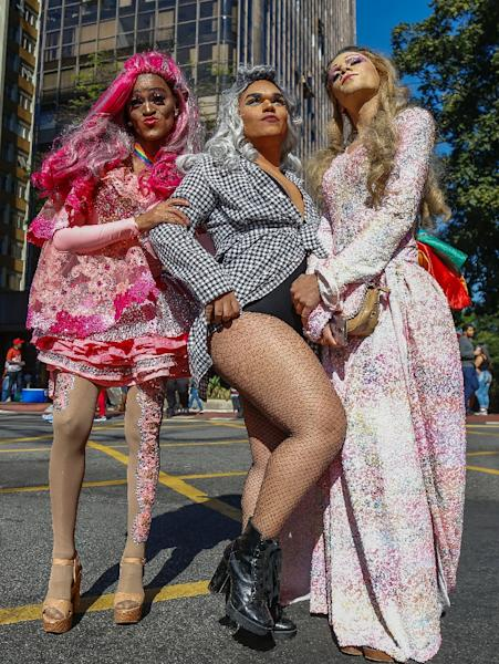 Drag queens pose for a picture during the Sao Paulo Gay Pride parade (AFP Photo/Miguel SCHINCARIOL)