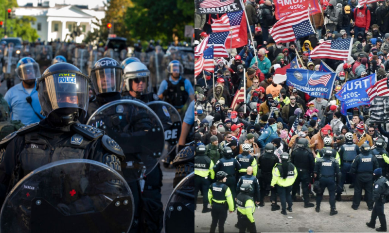 Left: Police officers in riot gear at anti-racism protests in Washington D.C. on June 1, 2020. Right: Trump supporters face off with police in Washington D.C. on January 6, 2021.