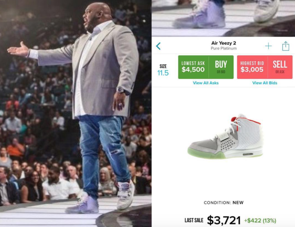 PreachersNSneakers is an Instagram account calling out celebrity pastors who are rocking some serious footwear, including Pastor John Gray, seen here wearing a pair of Air Yeezy 2. (Photo: Instagram)