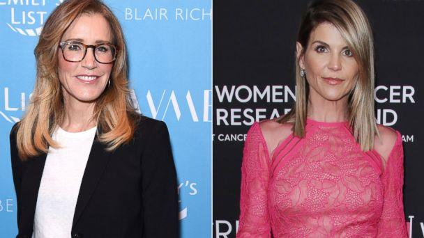 PHOTO: Felicity Huffman in Beverly Hills on Feb 19, 2019 in Los Angeles.   Lori Loughlin,in Beverly Hills, Calif., Feb. 28, 2019. (Getty Images REX via Shutterstock)