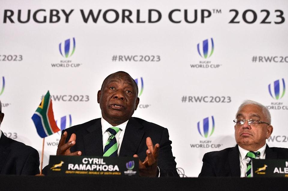 South Africa's deputy President Cyril Ramaphosa takes part in a press conference after South Africa presented their bid to host the 2023 Rugby World Cup in London on September 25, 2017 (AFP Photo/Glyn KIRK )