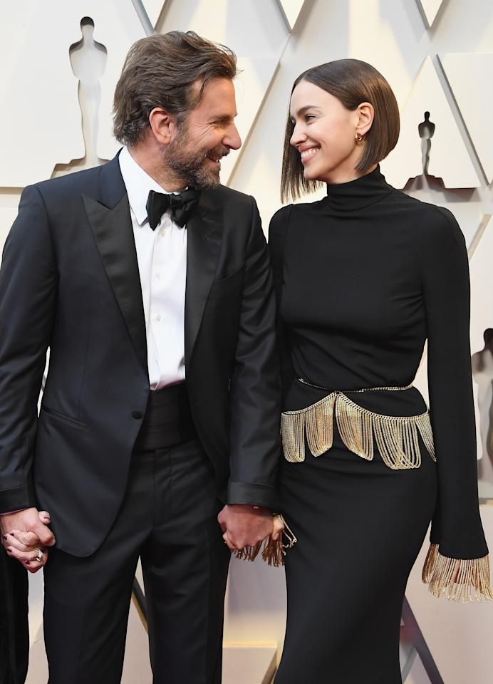 <p>Oscar nominee Bradley was loved-up on the carpet with his partner Irina Shayk. Source: Getty </p>