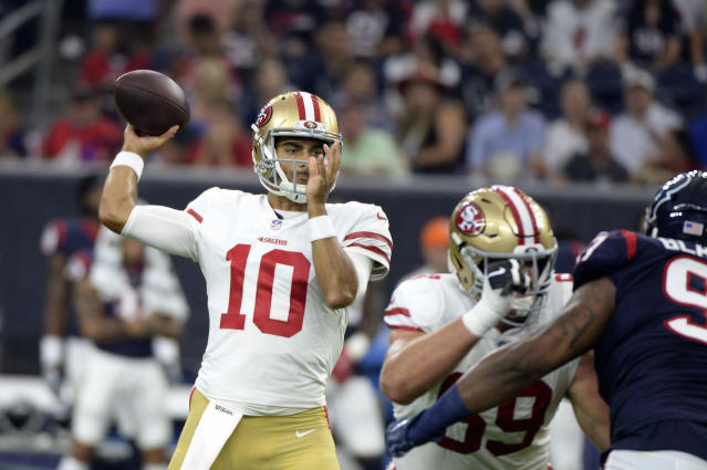 FILE - In this Saturday, Aug. 18, 2018, file photo, San Francisco 49ers quarterback Jimmy Garoppolo (10) throws a pass against the Houston Texans during the first half of an NFL preseason football game in Houston. The 49ers fortunes changed almost immediately after acquiring Garoppolo at last year's trade deadline. A team that started 2017 with nine straight losses finished with five straight wins after Garoppolo took over as starter. (AP Photo/Eric Christian Smith, File)