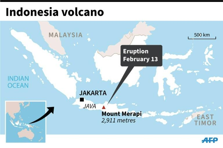 Map of Indonesia locating Mount Merapi volcano which erupted Thursday