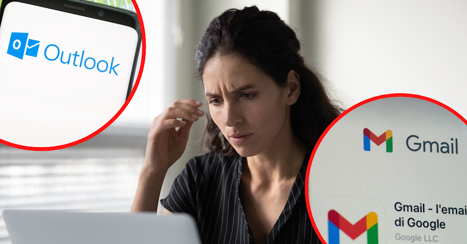 Microsoft Outlook and Google Gmail icons in corner bubbles with a concerned woman looking at a laptop.