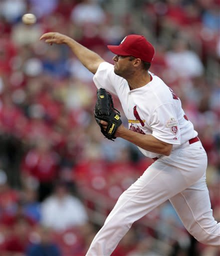 St. Louis Cardinals starting pitcher Jake Westbrook throws during the first inning of a baseball game against the Chicago Cubs Monday, May 14, 2012, in St. Louis. (AP Photo/Jeff Roberson)