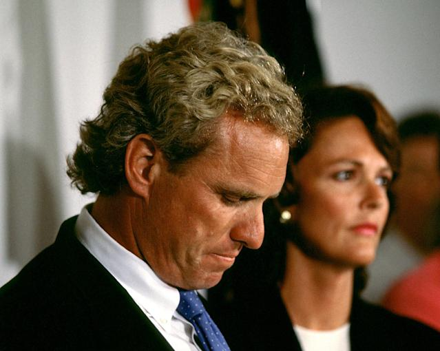 In August 1997, Joe Kennedy II, joined by his wife Beth, announced he would not be running for governor. (Photo: Brooks Kraft LLC/Sygma via Getty Images)