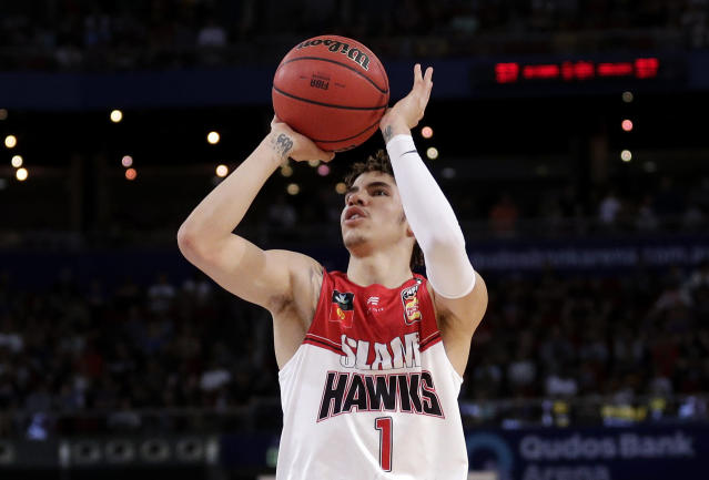 LaMelo Ball, a potential No. 1 pick in the 2020 NBA draft, will miss at least four weeks with a bruised foot in the NBL. (AP/Rick Rycroft)
