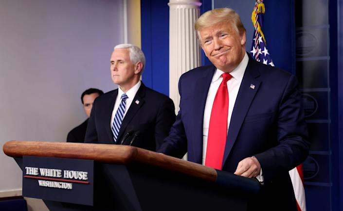 Donald Trump speaks at a White House briefing on the coronavirus pandemic: REUTERS