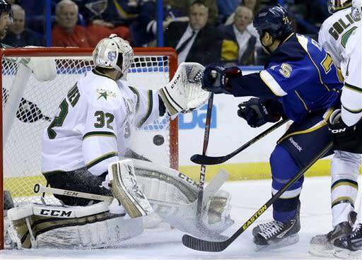 St. Louis Blues' Ryan Reaves, right, scores past Dallas Stars goalie Kari Lehtonen, of Finland, during the second period of an NHL hockey game Friday, April 19, 2013, in St. Louis. (AP Photo/Jeff Roberson)