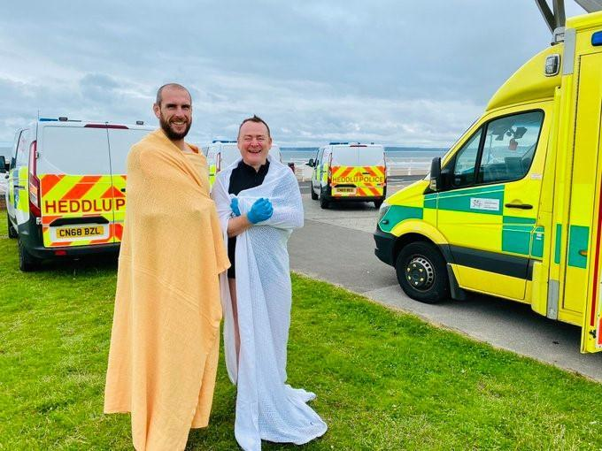 PC Dean Greenslade and PC John Curry rescued a man from the sea. (South Wales Police)