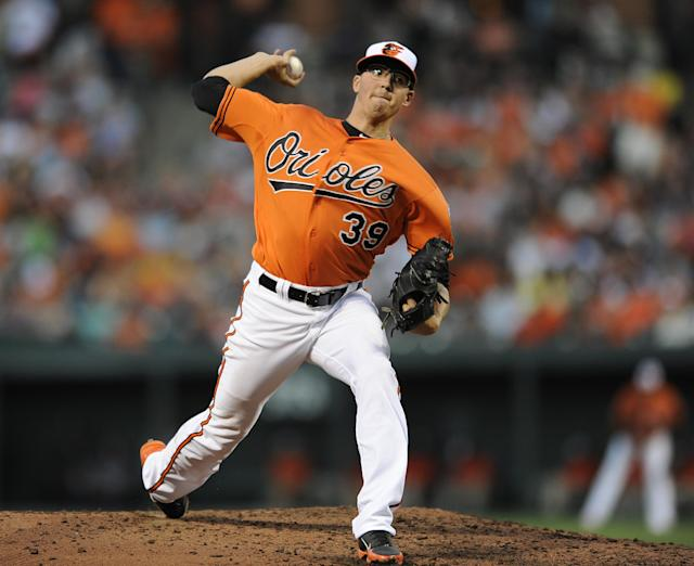 Baltimore Orioles pitcher Kevin Gausman delivers against the Oakland Athletics in the fourth inning of a baseball game Saturday, June 7, 2014, in Baltimore. The Orioles won 6-3. (AP Photo/Gail Burton)