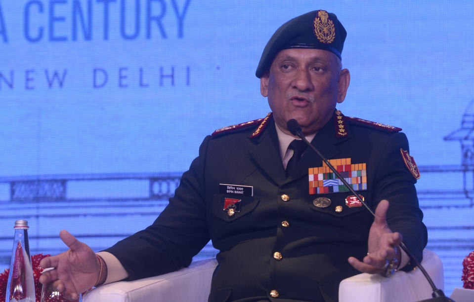 NEW DELHI, INDIA  JANUARY 16: Chief of Defence Staff (India), Bipin Rawat addresses his session at Raisina Dialogue in New Delhi. (Photo by Pankaj Nangia/India Today Group/Getty Images)