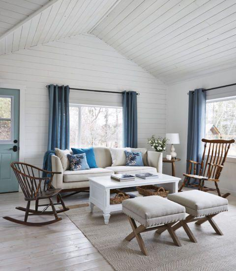 <p>To make tight quarters—such as the Robinson's living room—have more continuity, use one accent color throughout the house. Amanda chose a cool, icy blue.</p>