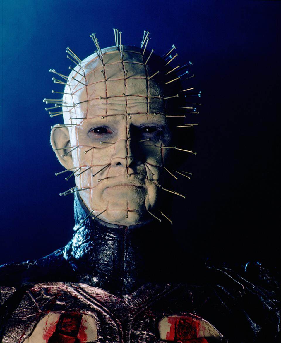 English actor Doug Bradley as Pinhead, leader of the Cenobites, in a publicity still for the film 'Hellraiser', 1987.   (Photo by Murray Close/Getty Images)