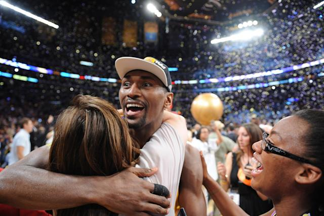 """Metta World Peace, then known as Ron Artest, celebrates the Lakers' win over the Boston Celtics in Game 7 of the NBA Finals on June 17, 2010. <span class=""""copyright"""">(Wally Skalij / Los Angeles Times)</span>"""