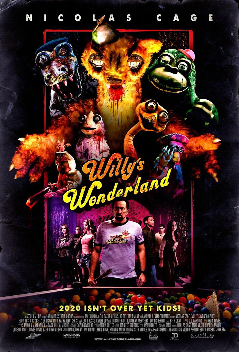 <p>There's never a convenient time or place for your car to break down but in front of an abandoned family fun center? That screams sinister plot. A man is forced to fight against possessed mascots after he experiences car trouble in front of Willy's Wonderland.</p>