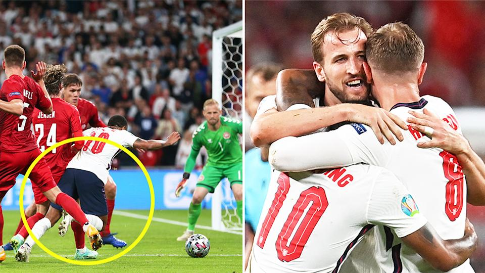 Raheem Sterling (pictured left) won a controversial penalty for England to help send them through to the Euro 2020 final. (Getty Images)