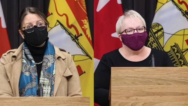 Dr. Jennifer Russell and Health Minister Dorothy Shephard will addressed a live-streamed COVID-19 update Friday. (Government of New Brunswick - image credit)