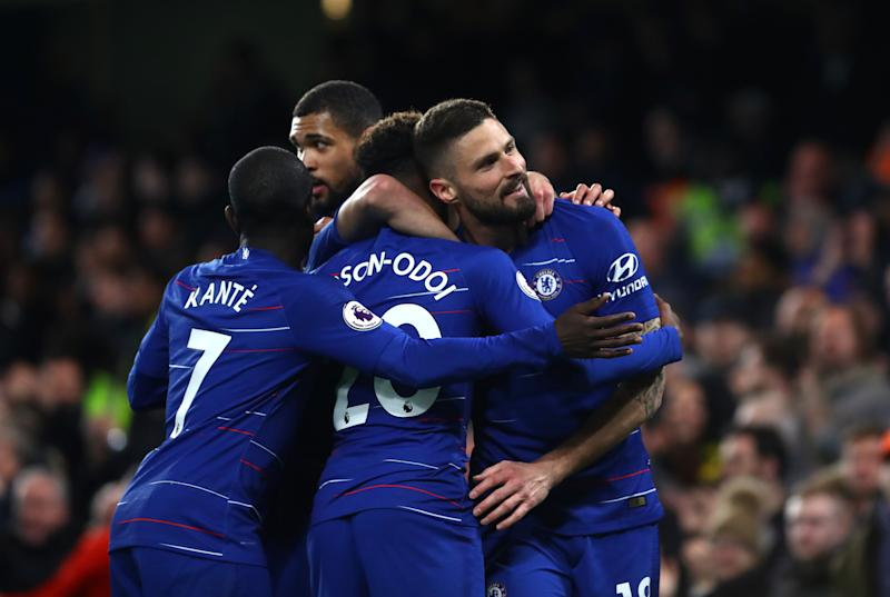 LONDON, ENGLAND - APRIL 03: Olivier Giroud of Chelsea FC celebrates scoring his teams first goal during the Premier League match between Chelsea FC and Brighton & Hove Albion at Stamford Bridge on April 03, 2019 in London, United Kingdom. (Photo by Chloe Knott - Danehouse/Getty Images)