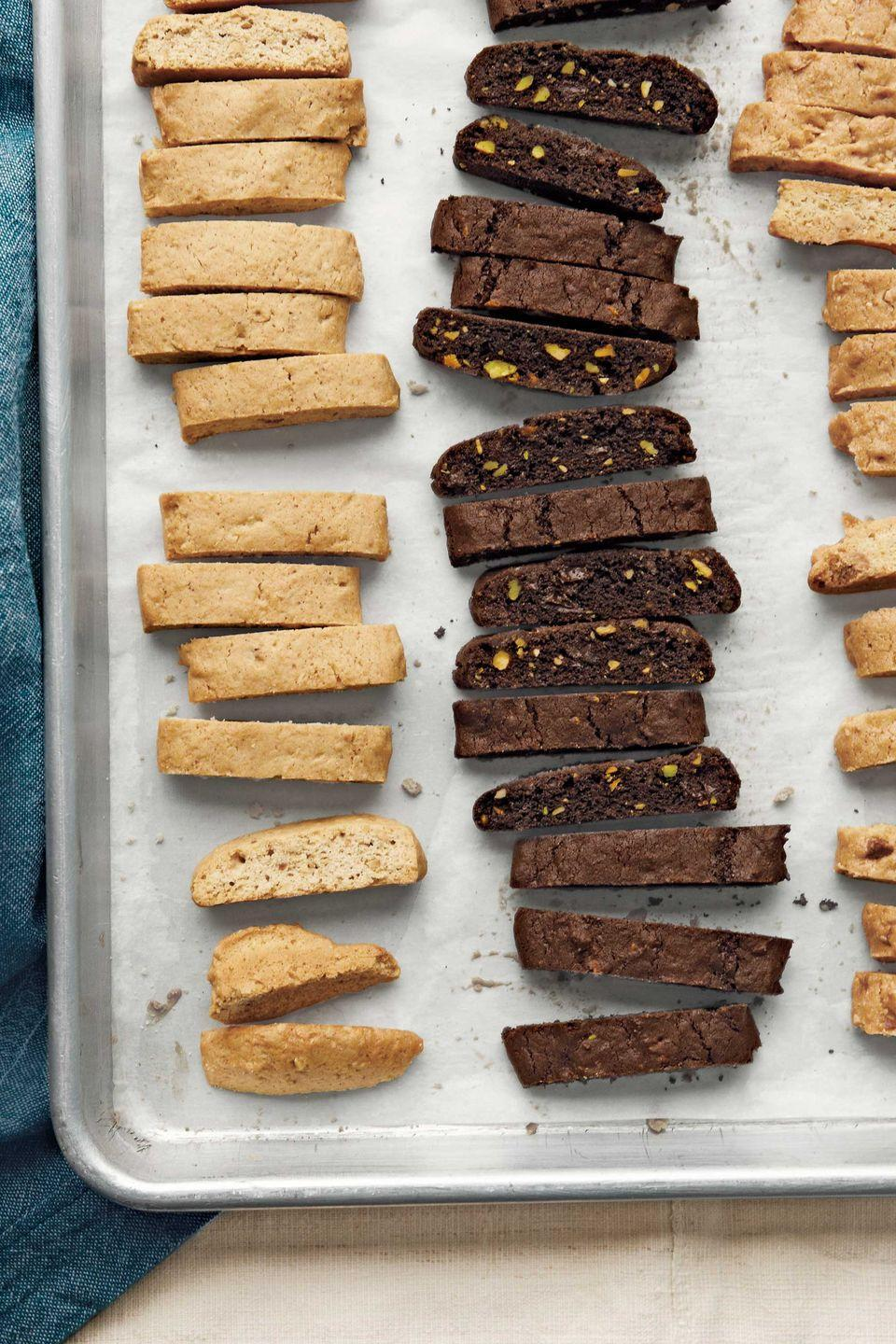 """<p>For a professional finish, sprinkle on a little fleur de sel before popping these lemon-olive oil and chocolate-pistachio biscotti in the oven. </p><p><strong>Recipes: </strong><a href=""""https://www.countryliving.com/recipefinder/lemon-olive-oil-biscotti-recipe-clx1211?click=recipe_sr"""" rel=""""nofollow noopener"""" target=""""_blank"""" data-ylk=""""slk:Lemon-Olive Oil Biscotti"""" class=""""link rapid-noclick-resp""""><strong>Lemon-Olive Oil Biscotti</strong></a></p><p><a href=""""https://www.countryliving.com/food-drinks/recipes/a3744/chocolate-pistachio-biscotti-recipe-clx1211/?click=recipe_sr"""" rel=""""nofollow noopener"""" target=""""_blank"""" data-ylk=""""slk:Chocolate-Pistachio Biscotti"""" class=""""link rapid-noclick-resp""""><strong>Chocolate-Pistachio Biscotti</strong></a></p>"""