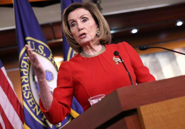 PHOTO: Nancy Pelosi speaks during her weekly press conference on May 13, 2021 in Washington, D.C. Pelosi said the House Ethics Committee should probably look into an altercation between Rep. Marjorie Taylor Greene and Rep. Alexandria Ocasio Cortez. (Win Mcnamee/Getty Images)