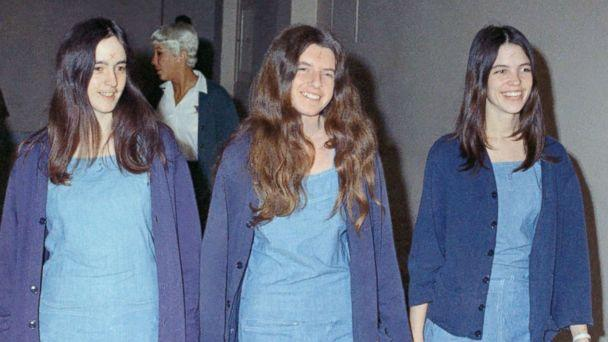 PHOTO: Charles Manson followers, from left: Susan Atkins, Patricia Krenwinkel and Leslie Van Houten, walk to court to appear for their roles in the 1969 cult killings of seven people, Aug. 20, 1970, in Los Angeles, Calif.  (George Brich/AP Photo)