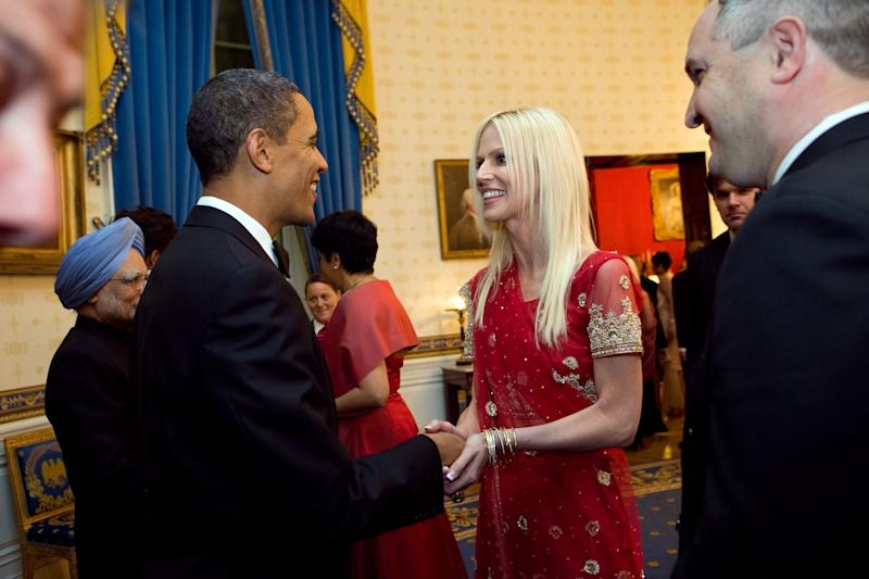 "FILE - This Nov. 27, 2009 file photo released by the White House  shows President Barack Obama greeting  Michaele and Tareq Salahi, right, at a State Dinner hosted by Obama  at the White House in Washington in this Nov. 24, 2009 file photo. The husband of ""Real Housewives of D.C."" cast member Michaele Salahi reported to police that he believed his wife had been abducted, but investigators said Wednesday Sept. 14, 2011 she assured them she was with a friend and ""where she wanted to be."" (AP Photo/The White House, Samantha Appleton,File)"