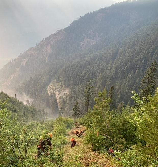 B.C. Wildfire Service crews work to remove potential fuels from the path of the Lytton Creek wildfire on Tuesday. (B.C. Wildfire Service - image credit)