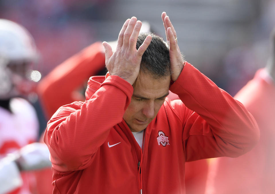 Urban Meyer's intense style of coaching has led to health concerns even on the sidelines. (AP)