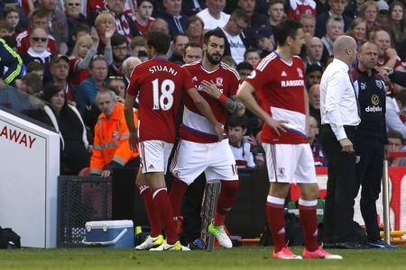 Britain Football Soccer - Middlesbrough v Burnley - Premier League - The Riverside Stadium - 8/4/17 Middlesbrough's Alvaro Negredo comes on as a substitute to replace Cristhian Stuani Action Images via Reuters / Craig Brough Livepic