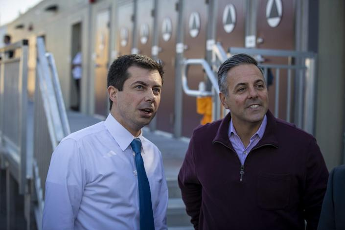 Councilman Joe Buscaino, right, visits Watts with then-Democratic presidential candidate Pete Buttigieg in 2020.
