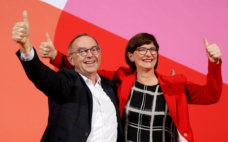 Saskia Esken (R) has not committed to staying in the coalition ahead of a crucial party meeting this week - REUTERS