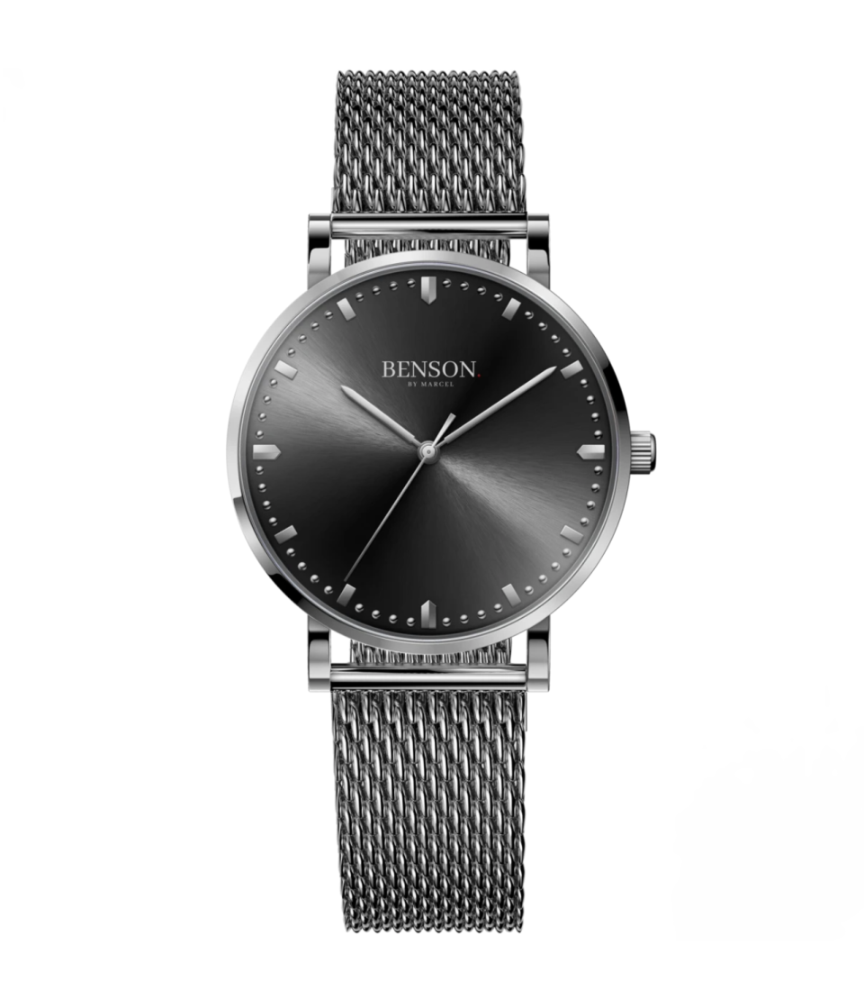 """<p><strong>Benson</strong></p><p>bensonwatch.com</p><p><strong>$125.00</strong></p><p><a href=""""https://bensonwatch.com/products/z-stainless-black"""" rel=""""nofollow noopener"""" target=""""_blank"""" data-ylk=""""slk:Shop Now"""" class=""""link rapid-noclick-resp"""">Shop Now</a></p><p>He only needs one accessory in his closet and that's a go-with-everything watch that can dress up even his oldest T-shirt (like this one).</p>"""