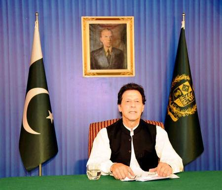 Pakistan's PM Khan speaks to the nation in his first televised address in Islamabad