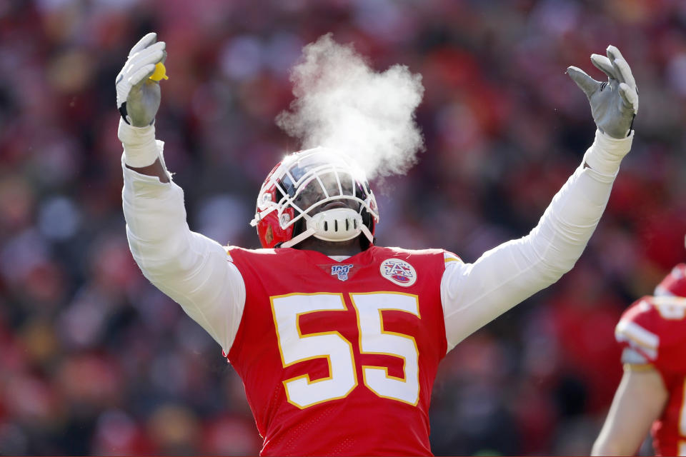 Kansas City Chiefs' Frank Clark reacts during the first half of the NFL AFC Championship football game against the Tennessee Titans Sunday, Jan. 19, 2020, in Kansas City, MO. (AP Photo/Jeff Roberson)