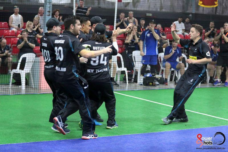 New Zealand celebrate a dismissal during the 2017 Indoor Cricket World Cup (Image Courtesy: Powershots Photography)
