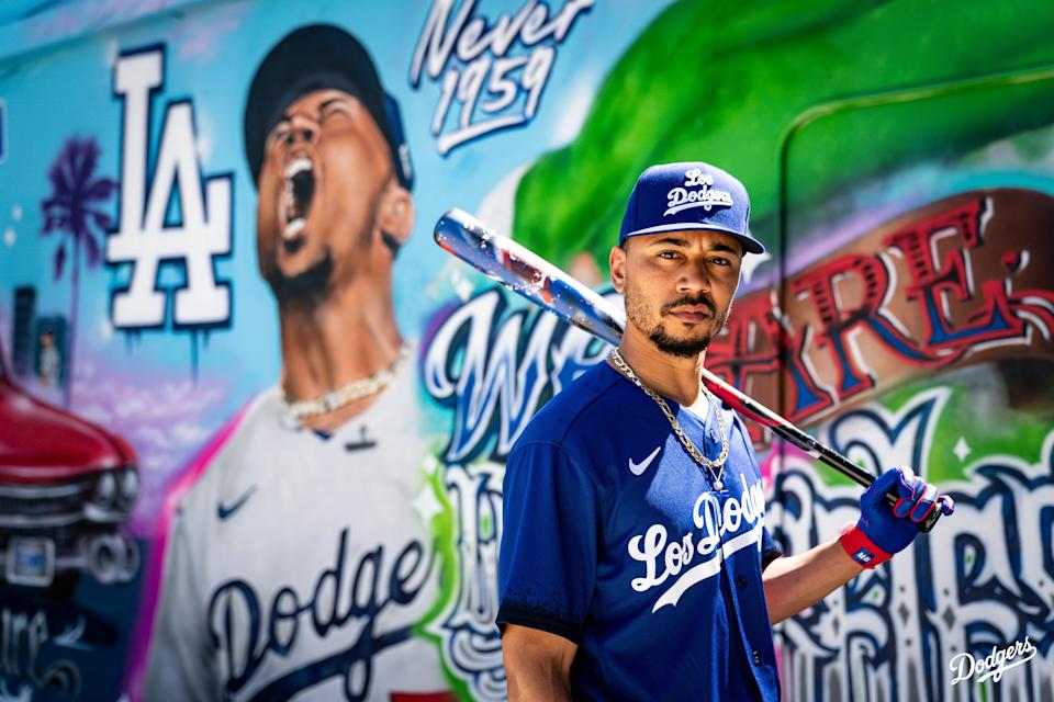 On the Los Angeles Dodgers' City Connect jerseys, a spray paint design on the sleeves are a nod to LA's mural culture. (Photo by Nike)