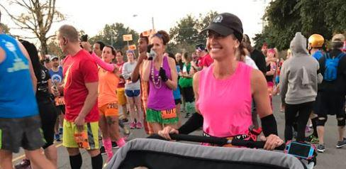 This supermom pushed her triplets in a stroller while running a half marathon