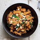 <p>A little bit of Sunday meal prep goes a long way in this one-dish Mediterranean pasta recipe. The pasta is cooked ahead of time and stored in the fridge to use for meals all week, but any leftover cooked pasta you have on hand will do. Chicken sausage with feta is especially good in this recipe.</p>