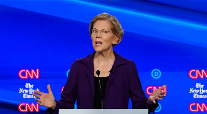 Sen. Elizabeth Warren speaks during the fourth Democratic presidential debate in Westerville, Ohio. (Photo: Shannon Stapleton/Reuters)