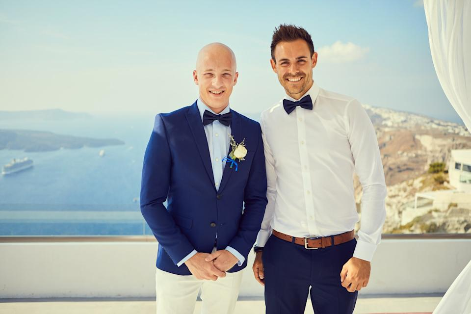 Luke Jordan pictured with his best man at his wedding, two months after he finished chemo (supplied, Luke Jordan)