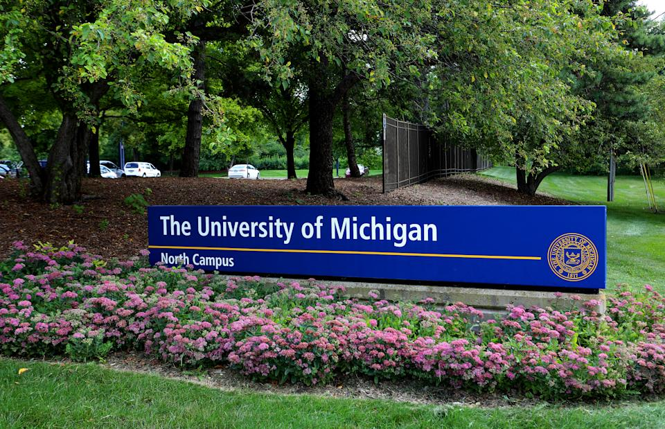 ANN ARBOR, MI -  JULY 30:  The University Of Michigan North Campus signage at the University Of Michigan in Ann Arbor, Michigan on July 30, 2019.  (Photo By Raymond Boyd/Getty Images)