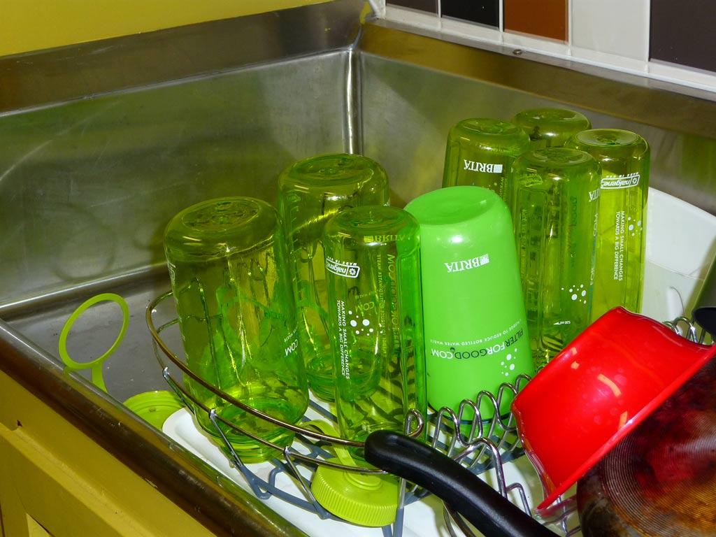 Bottles, bottles, everywhere! They are all over the ranch. These green Nalgene water bottles each hold 32 ounces.