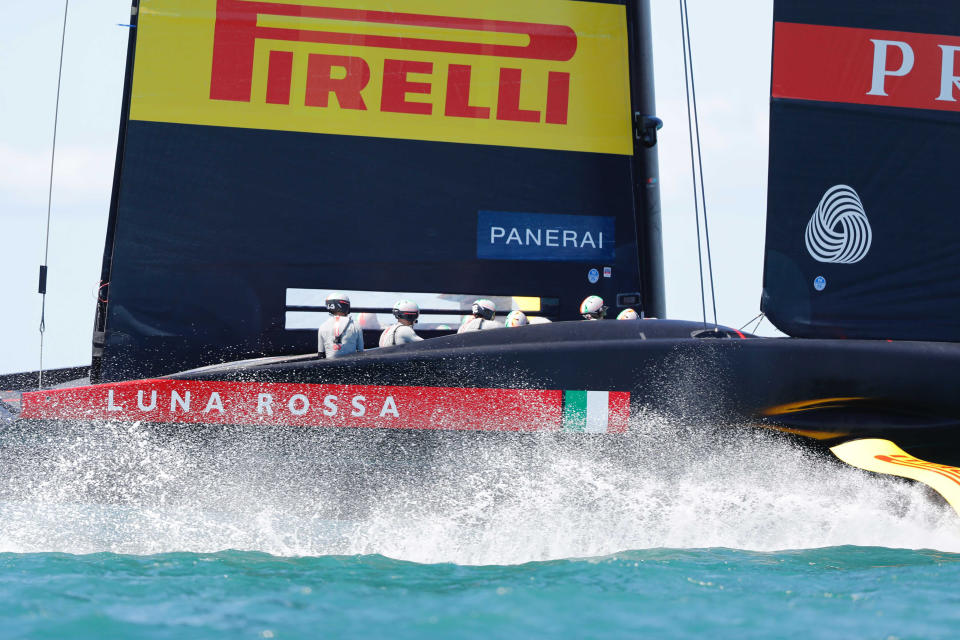 Italy's Luna Rossa races American Magic in the America's Cup challenger series semifinals on Auckland's Waitemate Harbour, New Zealand, Saturday, Jan. 30, 2021. (Dean Purcell/NZ Herald via AP)