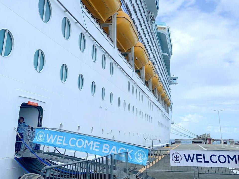 Welcome banners greeted Jordan Bauth as she stepped onto the Adventure of the Seas.