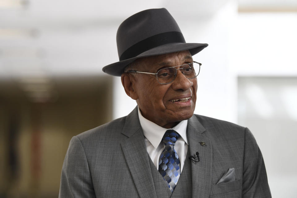 FILE - Willie O'Ree, the first black player to compete in the NHL, arrives for a meeting on Capitol Hill in Washington, in this July 25, 2019, file photo. The Boston Bruins say they are retiring the jersey of Willie O'Ree, who broke the NHL's color barrier. O'Ree will have his jersey honored prior to the Bruins' Feb. 18 game against the New Jersey Devils. He became the league's first Black player when he suited up for Boston on Jan. 18, 1958 against the Montreal Canadiens, despite being legally blind in one eye. (AP Photo/Susan Walsh, File)