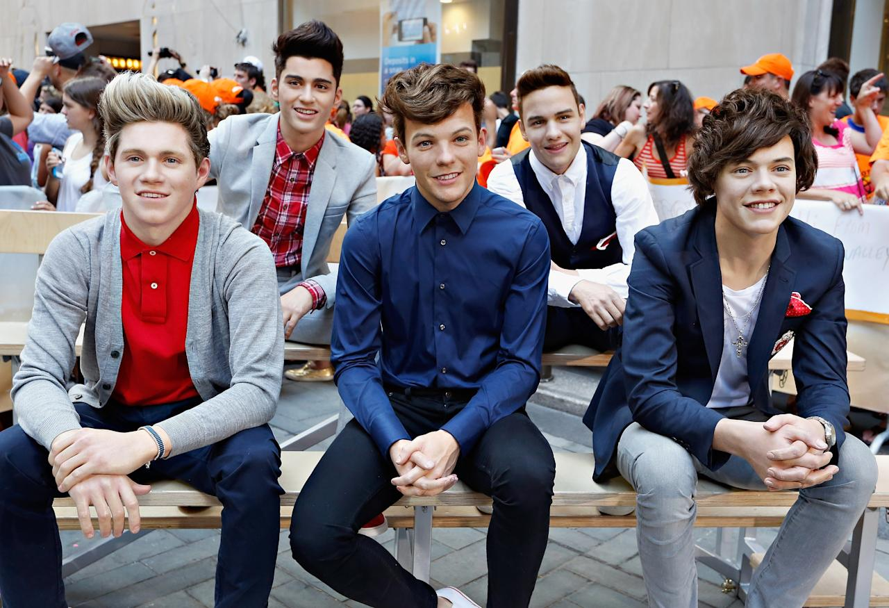 NEW YORK, NY - JULY 19: Madame Tussauds wax figures of the globally renowned British pop boy-band sensation, One Direction appear on NBC News' 'Today' show on July 19, 2013 in New York City. (Photo by Cindy Ord/Getty Images for Madame Tussauds)