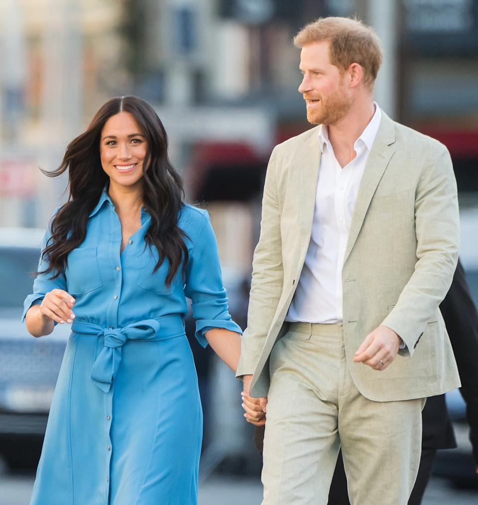 CAPE TOWN, SOUTH AFRICA - SEPTEMBER 23: Meghan, Duchess of Sussex and Prince Harry, Duke of Sussex visit  the District 6 Museum and Homecoming Centre during their royal tour of South Africa on September 23, 2019 in Cape Town, South Africa. District 6 was a former inner-city residential area where different communities and races lived side by side, until 1966 when the Apartheid government declared the area whites-only and 60,000 residents were forcibly removed and relocated.  (Photo by Samir Hussein/WireImage)