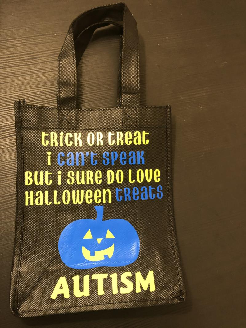 Halloween trick-or-treat bag idea for autistic and/or nonverbal children.